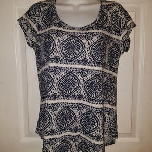 Lucky Brand Pullover Cap SLeeve Stretchy Top